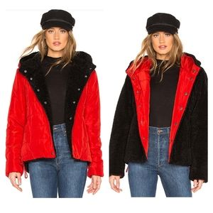 Sanctuary Reversible Faux Fur Puffer Jacket XS